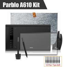 2 Stifte Parblo A610 Grafiken Zeichnung Digitale Tablet + Wolle Liner Tasche + Schutzfolie + Zwei-Finger Glove + 10 Stift Tipps
