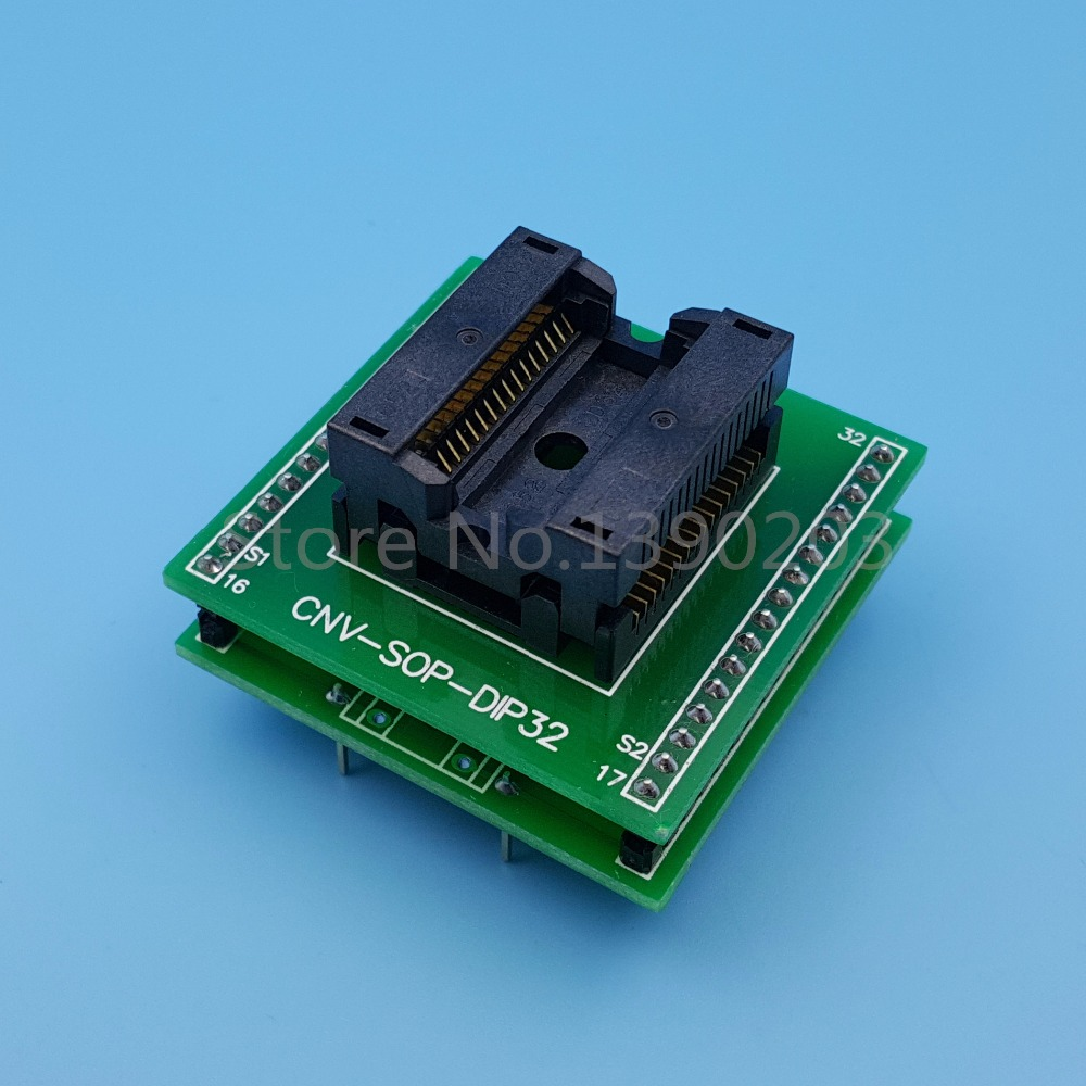 SOP32/SOIC32 TO DIP32 (A) Pitch 1.27mm IC Programmer Adapter Test SocketSOP32/SOIC32 TO DIP32 (A) Pitch 1.27mm IC Programmer Adapter Test Socket