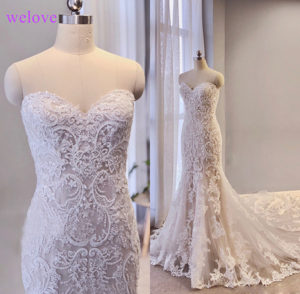 2019 New Mermaid Wedding Dress Cheap Sweetheart Sleeveless Slim Lace Embroidery Sexy Fishtail Long Wedding Gown Vestido De Novia