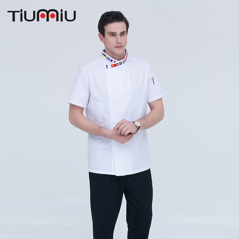 High Quality Black White M-4XL Wholesale Women Men Short-sleeve Oblique Embroidery Collar Kitchen Hotel Chef Jacket Bake Uniform