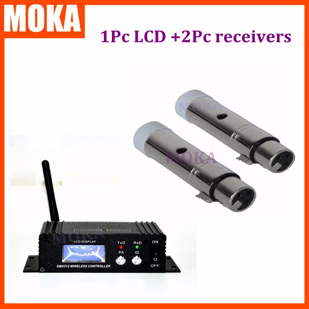 3 Pcs/lot Stage Bar Light Professional 2 Mini XLR Receiver +1 LCD Display Wireless Receiver Transmitter DMX 512 Equipment