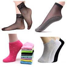 3/5Pair Women Cotton Socks Summer Autumn Cute Candy Color Boat for Ladies Transparent Nylon Ankle Chaussette Sokken