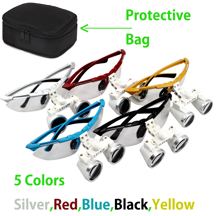 3.5x420mm Dentist Dental Surgical Medical Binocular Loupes magnifying glass 5 Colors With Black Protective Bag highquali 6 5x kepler binocular medical magnifying glass surgical loupes dental loupes medical loupes with led light fd 501 k 1