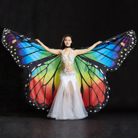 Stage Performance Props Women Dancewear Fairy Cape Polyester Dance Isis Wing Chiffon Butterfly Wings For Belly