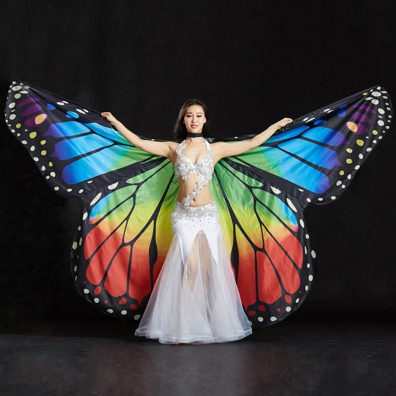 2018 Performance Femmes Vêtements Accessoires de Scène Polyester Cape Manteau De Danse Aile De Fée Papillon Ailes pour la Danse Du Ventre (avec des Bâtons)