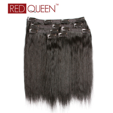 Red Queen Natural Straight Clip in Human Hair 120g For Full Head Clip In Human Hair Extensions Brazilian Virgin Hair 12 Inch