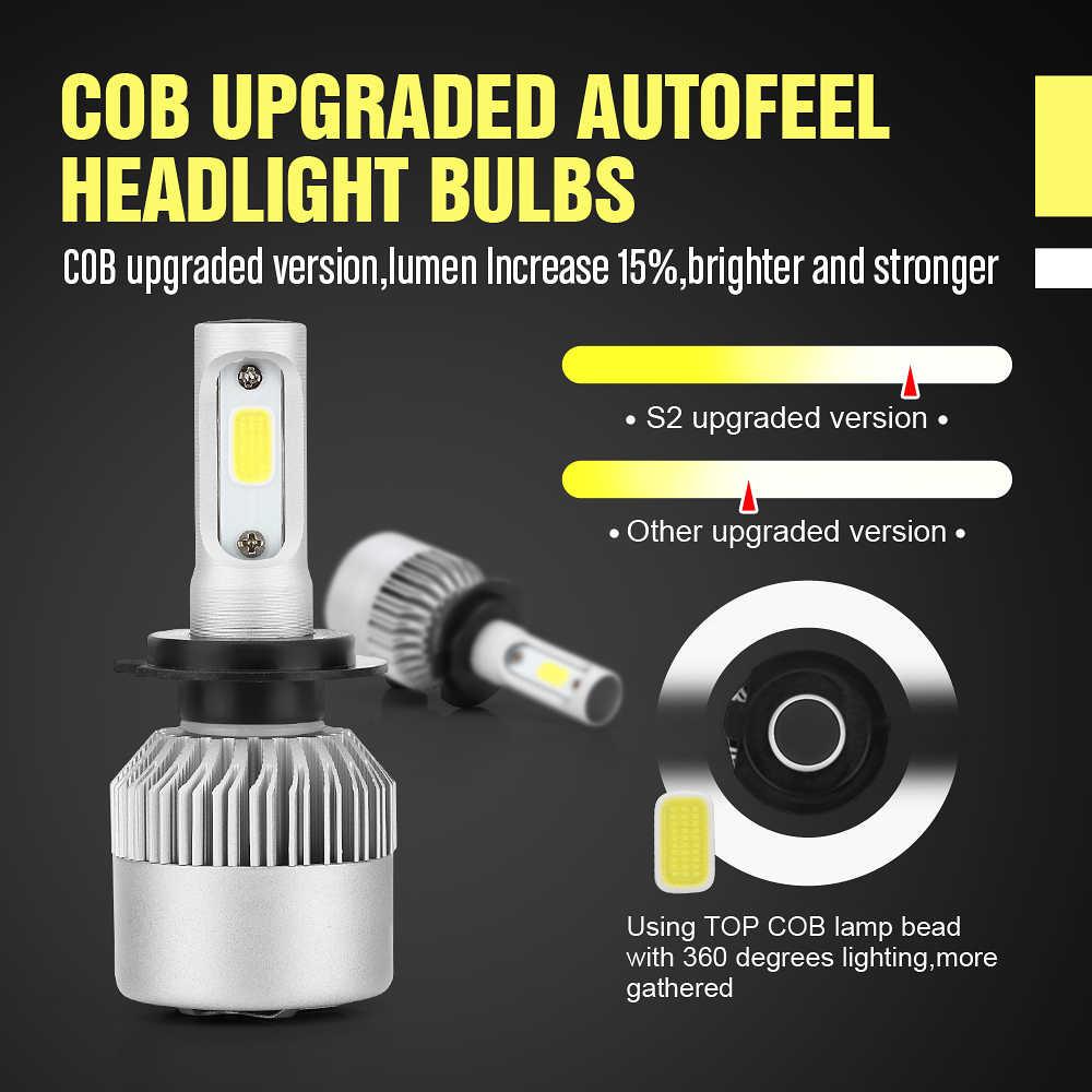 roadsun LED H7 H4 S2 Car Headlight 9005 9006 9004 9007 880 H1 H3 H13 H11 HB3 HB4 Led Automovil kit Auto Light Lamp Bulb 12V COB