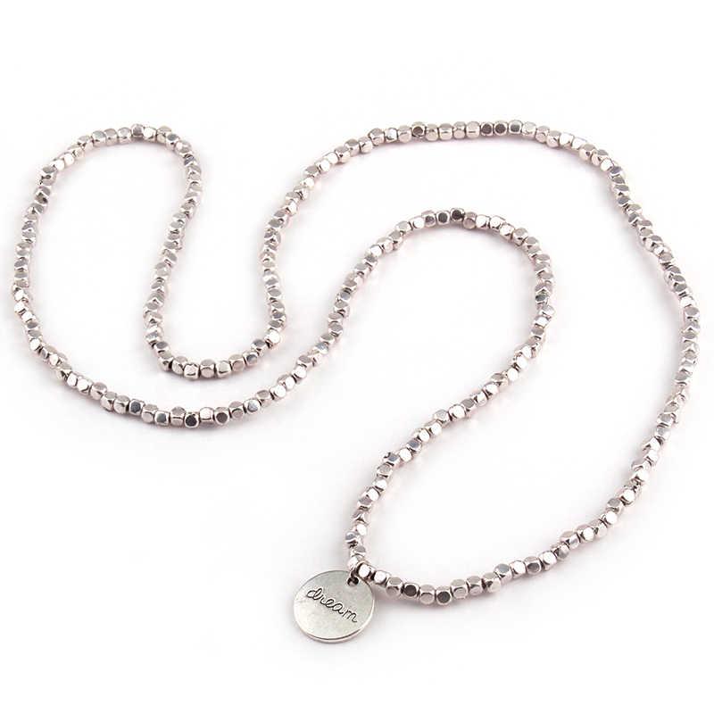 Libero quadrato di trasporto Perline cinque fila braccialetto dell'involucro Neklace doppio lato Sogno di Luna di fascino i braccialetti di metallo