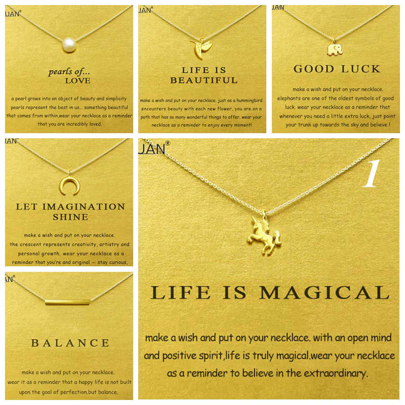 Gold Card Summary 1: Dogeared Elephant Unicorn Pearl Choker Statement Necklace Jewelry Chain Women Collares Colar Kolye Collier