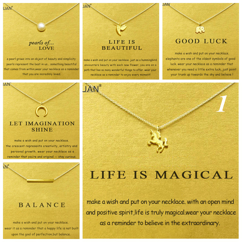 Gold Card Samenvatting 1: Dogeared Elephant Unicorn Pearl Choker Statement Necklace Jewelry Chain Women Collares Colar Kolye Collier