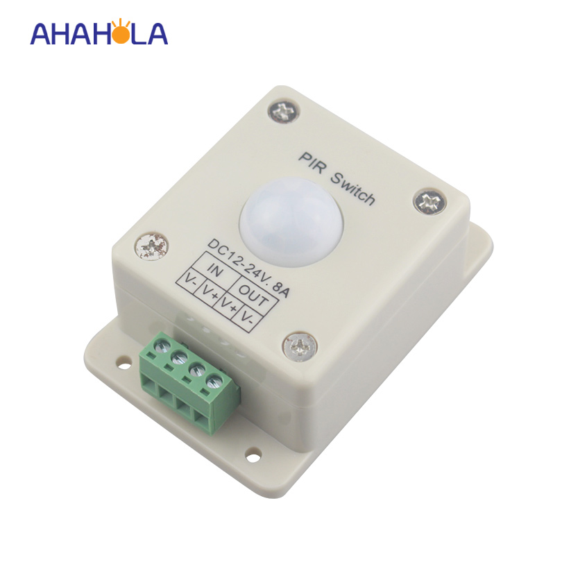 wall mounted motion sensor light switch  12/24v 8A 96w pir dimmer switch for led strip light high quality wall mounted pir motion sensor light switch max 600w load 9m max distance 1pc gs45