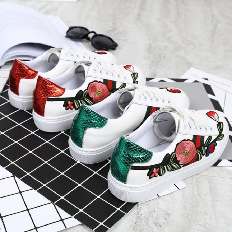 Chaussures Broderie Vert Nouvelle Étudiant De Simples Femmes Automne rouge Marée Pu Rose 2018 Ronde Et Blanc Printemps Tête Plates qwXzTz