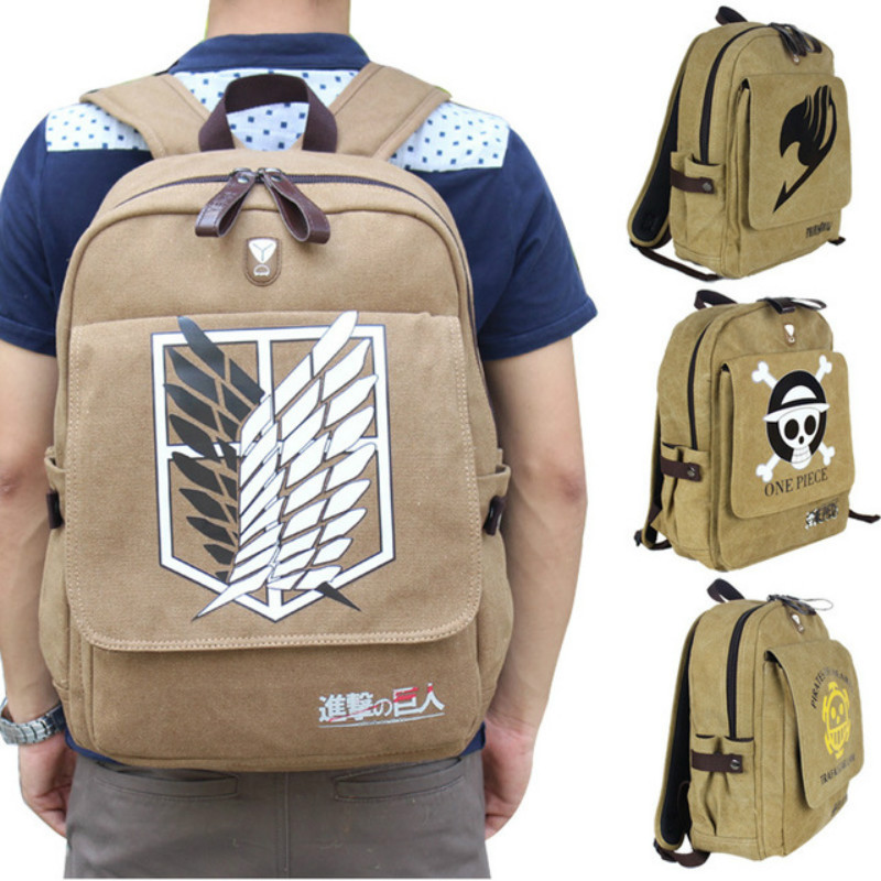 Anime Attack on Titan ONE PIECE FAIRY TAIL Cosplay Props Canvas Backpack Schoolbag Computer Package