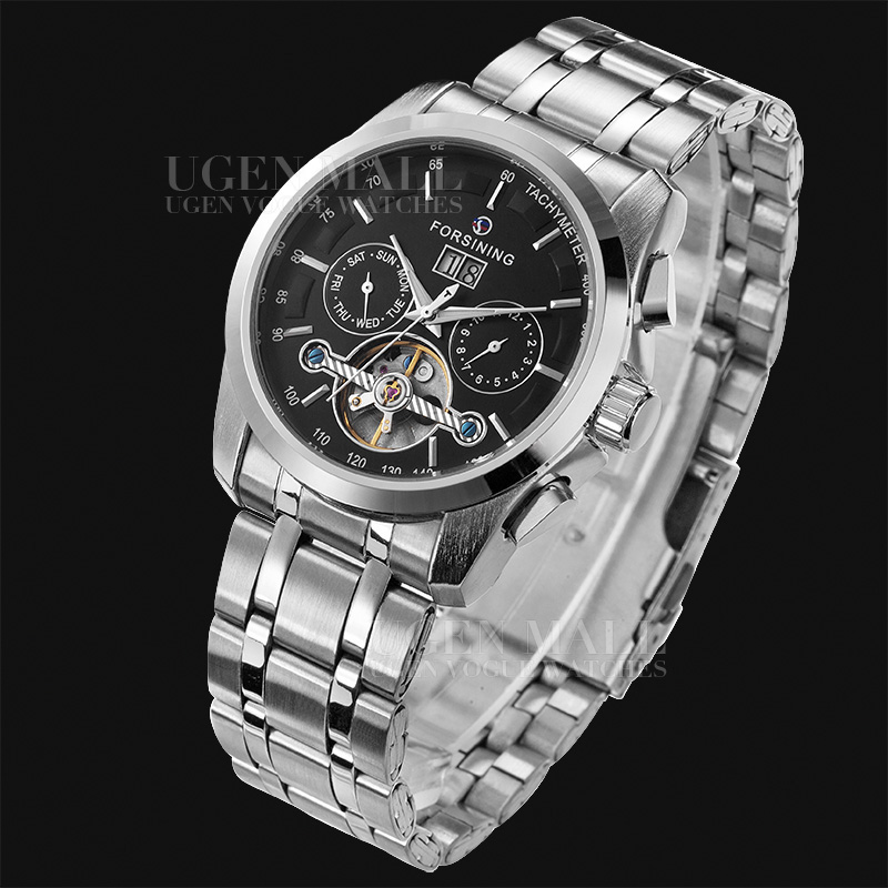 NAVIGATOR Series Tourbillon Date Month Display Transparent Case Back Luxury Stainless Full Steel Men Mechanical Watch
