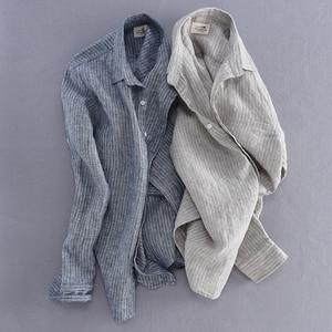 Image 4 - Мужская льняная рубашка в полоску, Повседневная приталенная Базовая рубашка с длинными рукавами, импортная одежда, 2019
