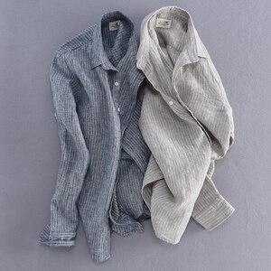 Image 4 - 2019 ניו הגעה גברים אופנה פס פשתן חולצה זכר מזדמן ארוך שרוול למעלה איכות נוזל Slim Fit חולצה בסיסית יבוא בגדים