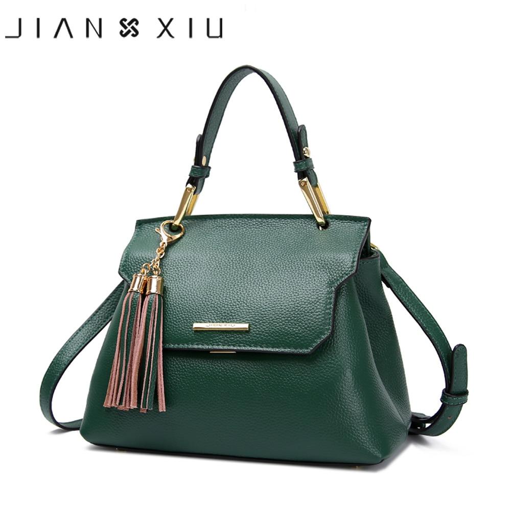 JIANXIU Brand Genuine Leather Handbag Luxury Handbags Women Bag Designer Small Tote Tassel Lychee Texture Shoulder