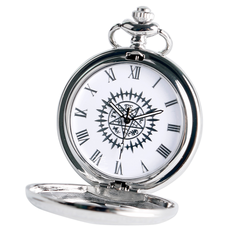 Cosplay Anime Kuroshitsuji Black Butler Silver Quartz Pocket Pocket Watch Sebastian Ciel Վզնոց կախազարդ տղա տղամարդկանց նվեր Relogio De Bolso