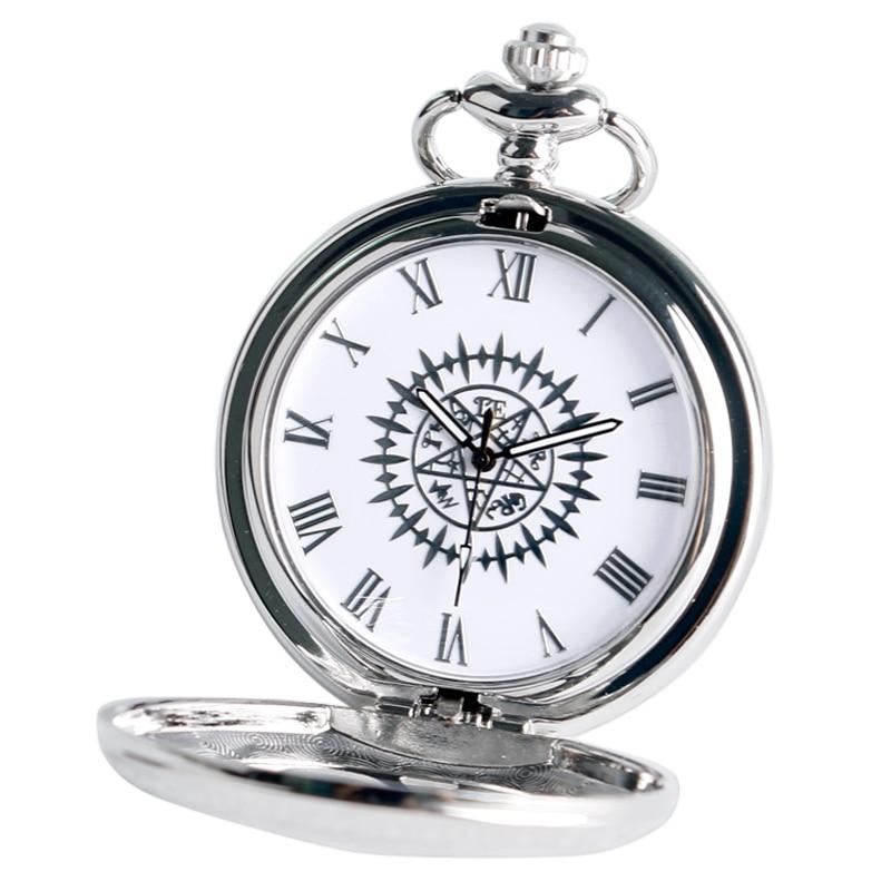 Cosplay Anime Kuroshitsuji Black Butler Silver Quartz Pocket Watch Sebastian Ciel Necklace Pendant Boy Men Gift Relogio De Bolso