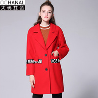 2017 Winter New Ribbon Woolen Coat S Plus Large Size Winter Coat Women Fashion Turn Down
