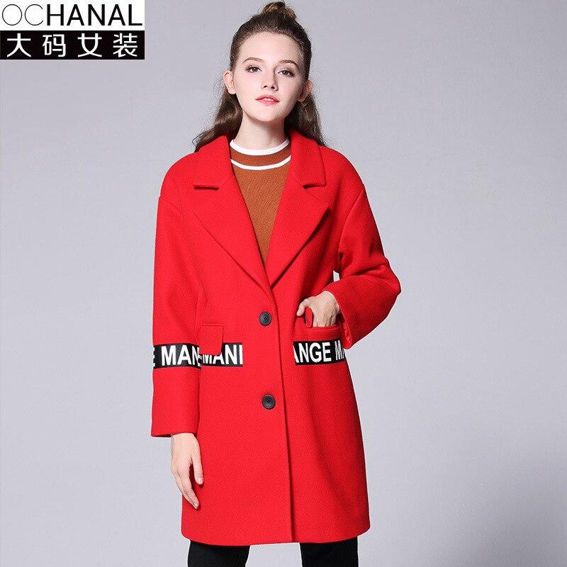 Winter New Ribbon Woolen Coat S Plus Large Size Winter Coat Women