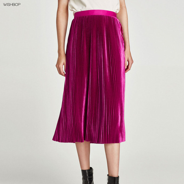 WISHBOP NEW 2017 Woman Fashion Dark fuchsia Pleated velvet midi skirt with  contrasting waistband side zip