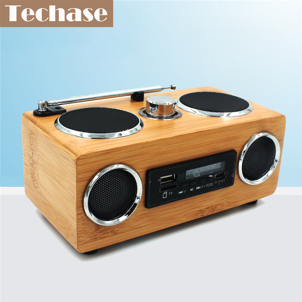 Techase Bamboo Speaker Mini Wierelss HiFi Sound Speakers Support FM Radio USB TF Card AUX-IN Pour MP3 Player Music Caixa De Som