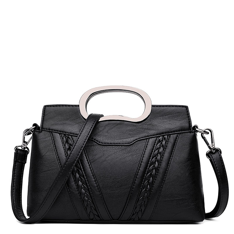 Exquisite Fashion Women Handbag Female Unique Metal Short Handle PU Leather Office Totes Bags Ladies Striped Shoulder Bag new fashion women message bags with small purse metal ring handle leather handbag ladies girls trendy shoulder bag balestra