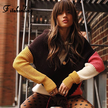 Fitshinling Patchwork Women Winter Sweaters And Pullovers Knitwear Long Sleeve Jumper Holiday Slim Ladies Sweater Sale