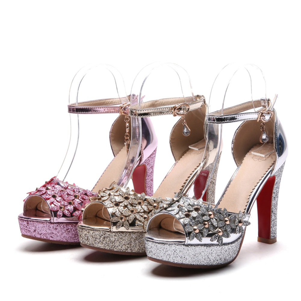Plus Argent Rose Taille Toe Or argent Peep Fleurs Super Dames Femmes Sandales Asumer D'été rose De Or Chaussures Haute Mode Mariage Femme Boucle La Uw4RqdPxE