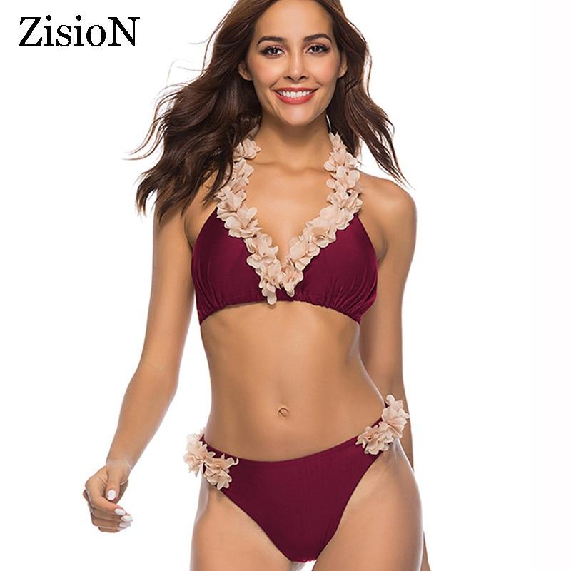 ZisioN Floral Swimwear Women Halter Swimsuit Flower Bikini Set Bandage Bathing Suit 2018 Sexy Bikinis Backless Swimming Suit