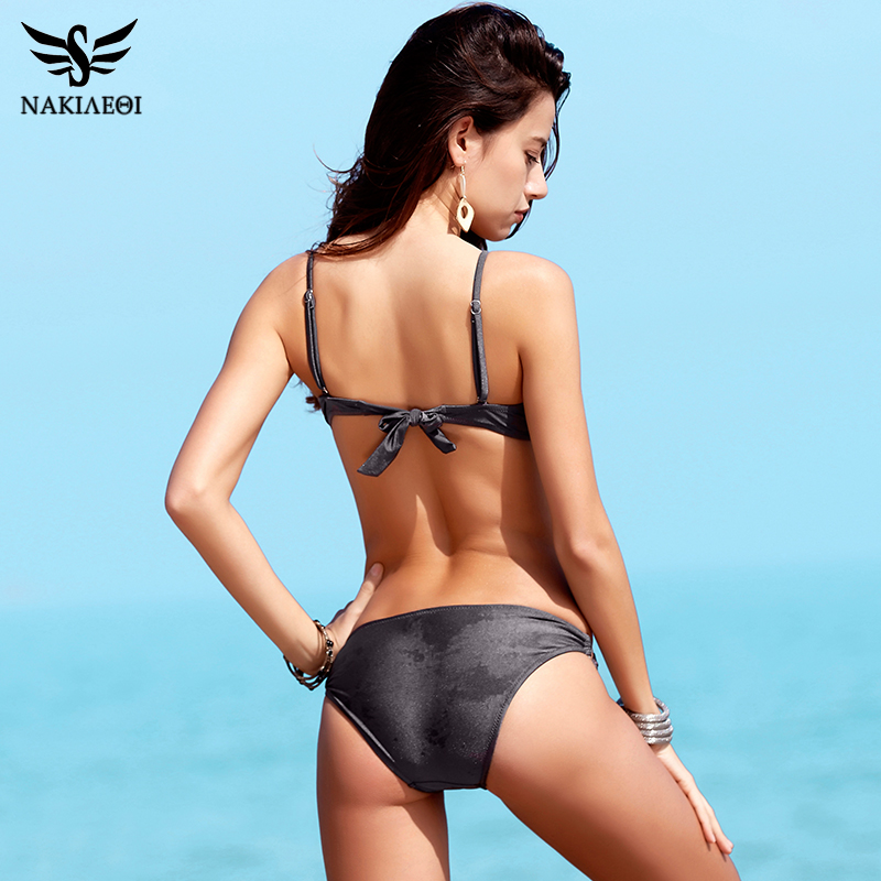 NAKIAEOI 2018 Sexy Bikinis Women Swimsuit Push Up Swimwear Halter Solid Brazilian Bikini Set Beachwear Bathing Suits Swim Wear 2