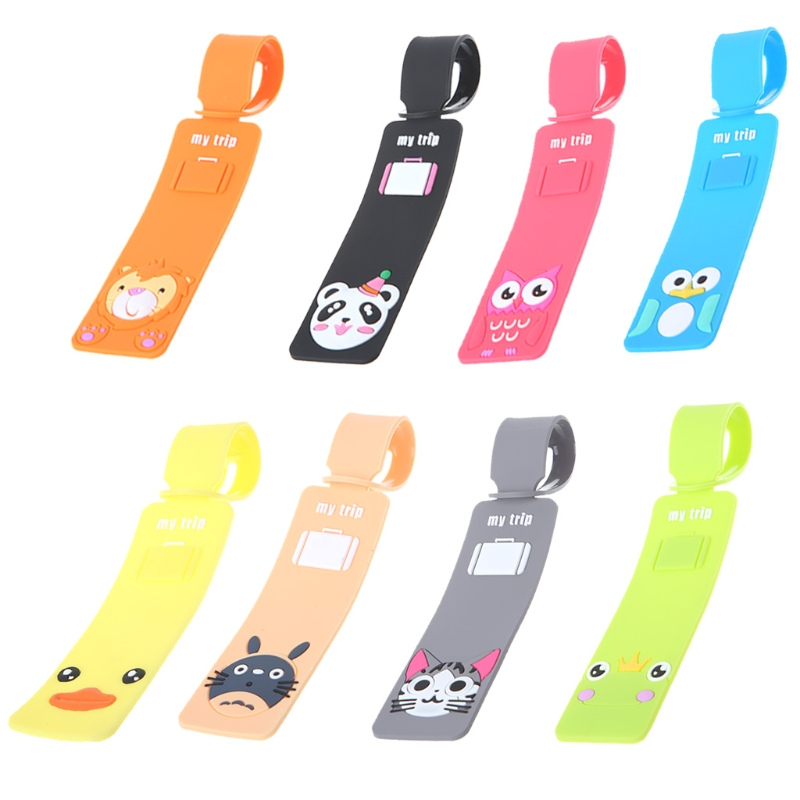 Cartoon Silicone Travel Luggage Tags Baggage Suitcase Bag Labels Name Address thinkthendo new travel luggage tags labels strap name address id suitcase bag baggage secure