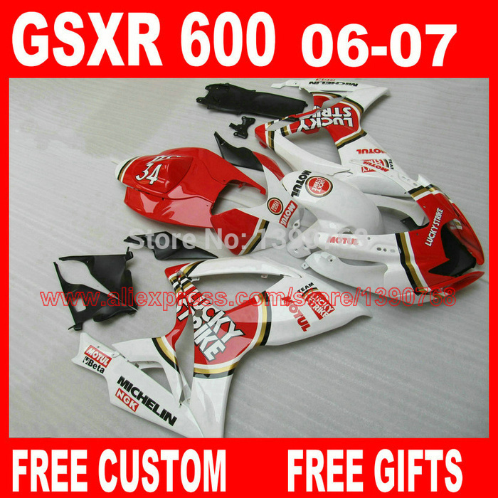 Motorcycle fairing kit for suzuki k6 k7 2006 2007 body kit gsxr750 red white lucky strike fairings se