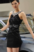 new arrival woman's beading luxury style dress white stripe bandage hollow out elastic club wear black high quality E HL1662