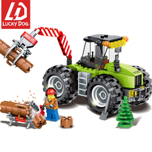 182pcs Forest Tractor Engineering Vehicles Figures Building Blocks Compatible Legoing City Lumbering Truck Toys for Children