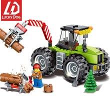 182pcs floresta trator veículos de engenharia blocos de construção compatível grande marca cidade lumbering caminhão brinquedos para crianças
