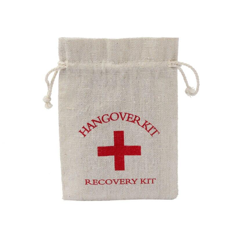 10*14 см набор от похмелья для девичника, сумка из хлопка, сумка для вина, украшение для тела, подвесная сумка для вечеринки, сумка для хранения ...