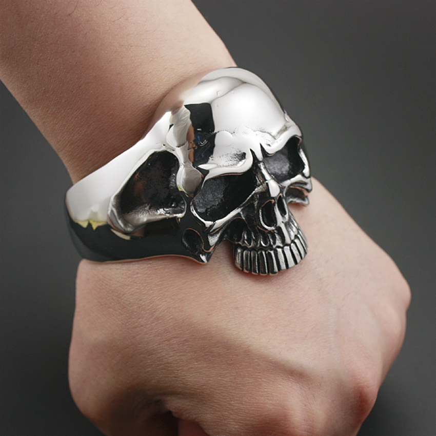 316L Stainless Steel Huge Heavy Skull Mens Biker Rocker Punk Bracelet Bangle Cuff 5J022 316l stainless steel huge heavy skull pendant mens biker punk style aj015 steel necklace 24 inches