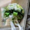 2017 dama de Honor Nupcial de La Boda Bouquet Barato Nuevo Verde y Marfil Hecho A Mano Peonía Artificial Flores de La Boda Ramos de Novia