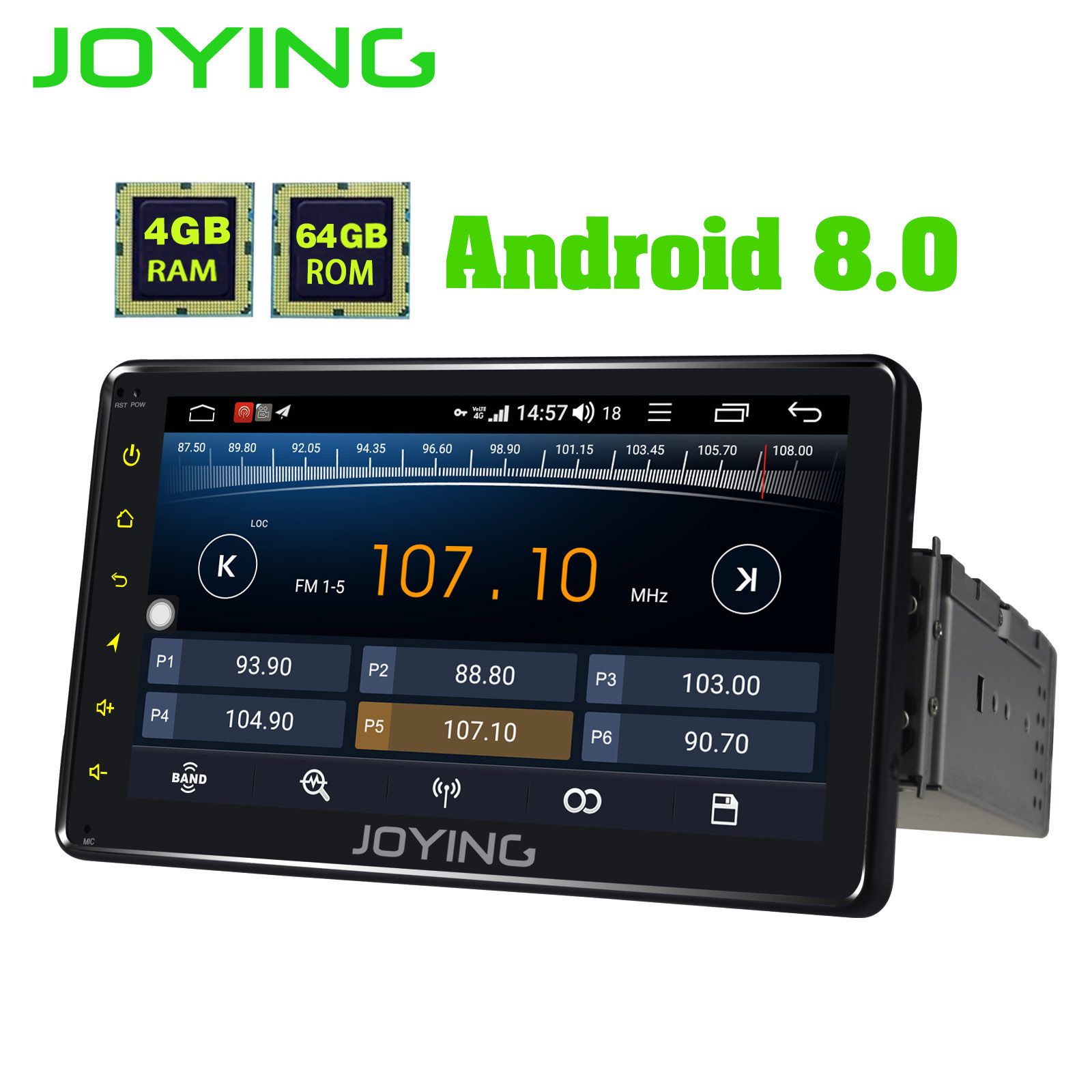 JOYING 4GB RAM 64GB ROM 1 Din 7 Inch Android 8.1 Car Radio Stereo GPS Audio Octa Core HD Head Unit With Carplay And Android Auto