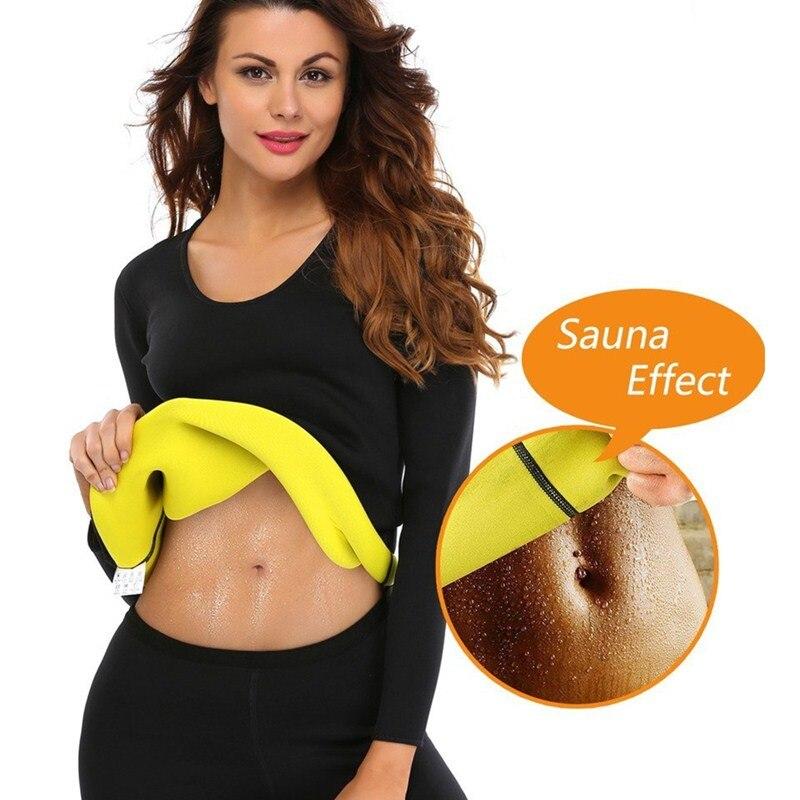 NINGMI Women Slimming Sauna Suit Hot Sweat Shirt Blouse Long Sleeve Waist Tranier Neoprene Fitness Top