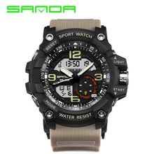 SANDA Brand Dual Display Wristwatches Military Alarm Quartz Clock Male Gift S Shock Men's Sports Watch for Men Hours relogio