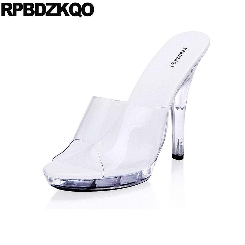 Transparent Shoes Perspex Big Size Stiletto Crossdressed Sandals Women Pumps Glass Slipper Fetish Slides Pvc High Heels Extreme цена