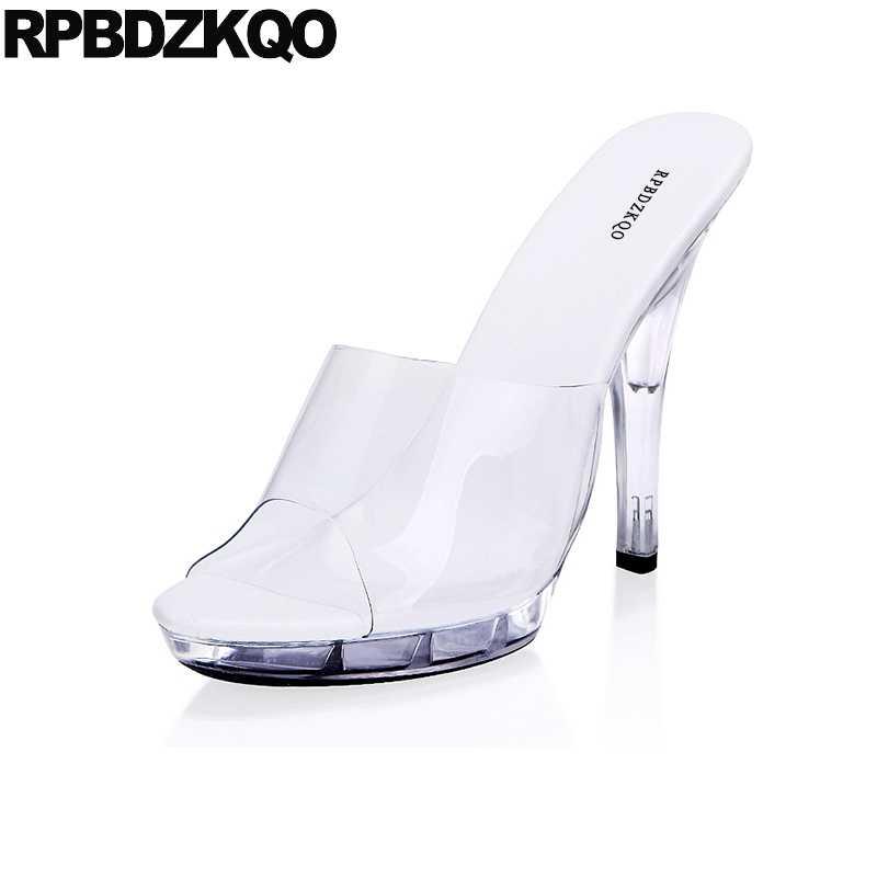 66580b9bfc1 Transparent Shoes Perspex Big Size Stiletto Crossdressed Sandals Women  Pumps Glass Slipper Fetish Slides Pvc High