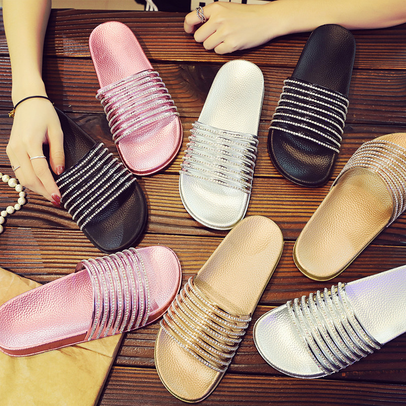 SHANGPREE Summer Women Slippers Rhinestone Flip Flop Bling Diamond Sanals Rubber House Slipper Lady Casual Crystal Beach Shoes slipper