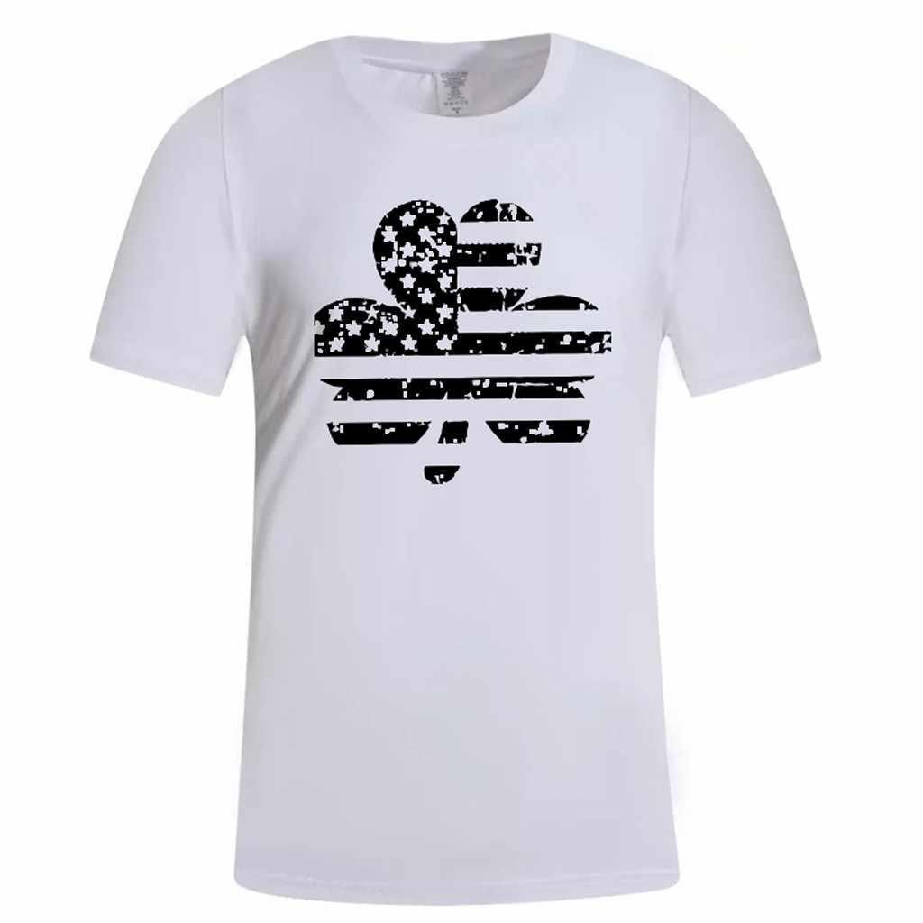 JAYCOSIN 男性シャツ夏米国旗を印刷ラウンドネックスリムフィット半袖トップブラウスファッション O ネックソフトカジュアルトップ服 515