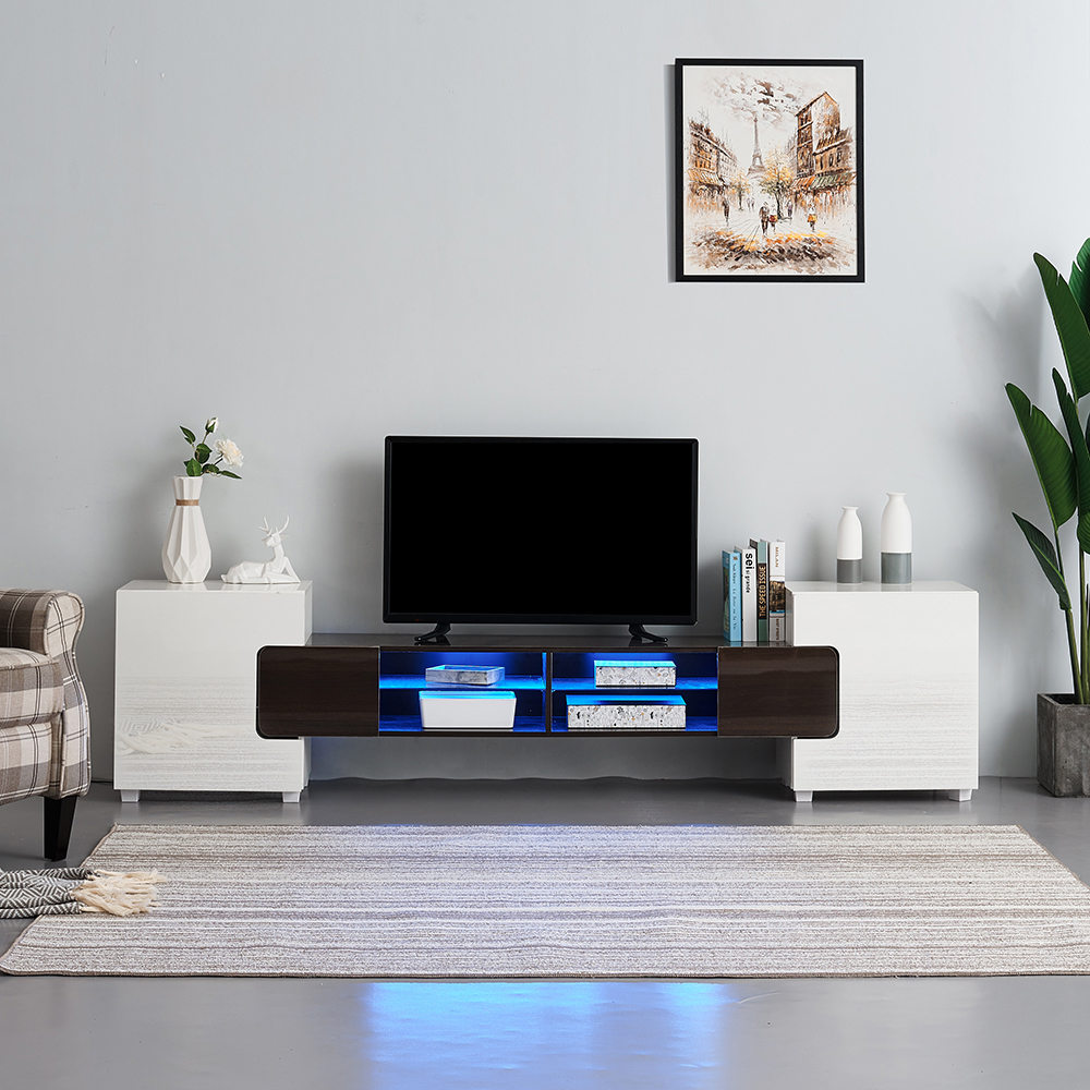 Modern Large 230cm TV Unit Stand Cabinet Gloss Matt White Black Grey Led Lights