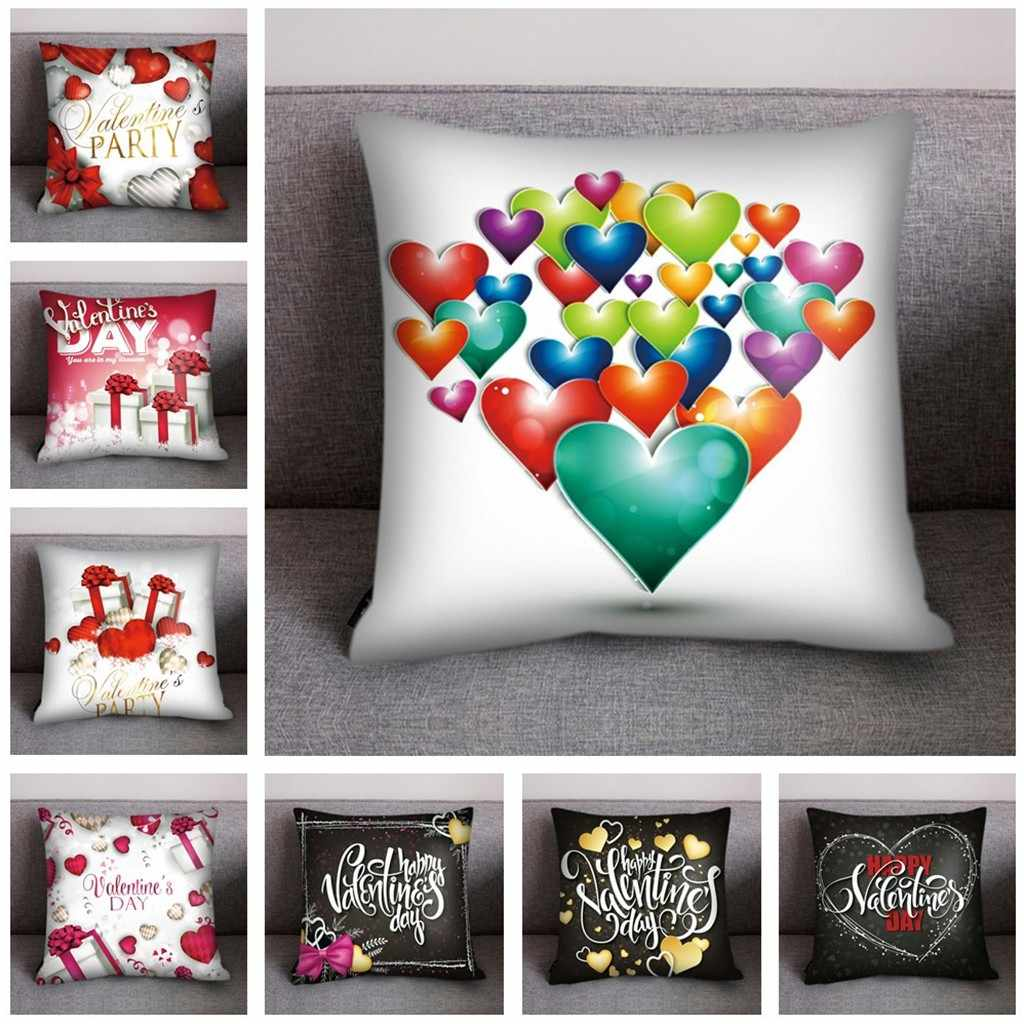 Valentine's Day Pillow cover New year gift Print Pillow Case Polyester decorative cushions  nordic cover 8 patterns droship
