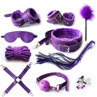 10pcs Set Purple Bondage Restraints Paddle Bdsm Collar Nipple Clamp Handcuffs for Sex Rope Mask Open Mouth Gag Juegos Sexuales